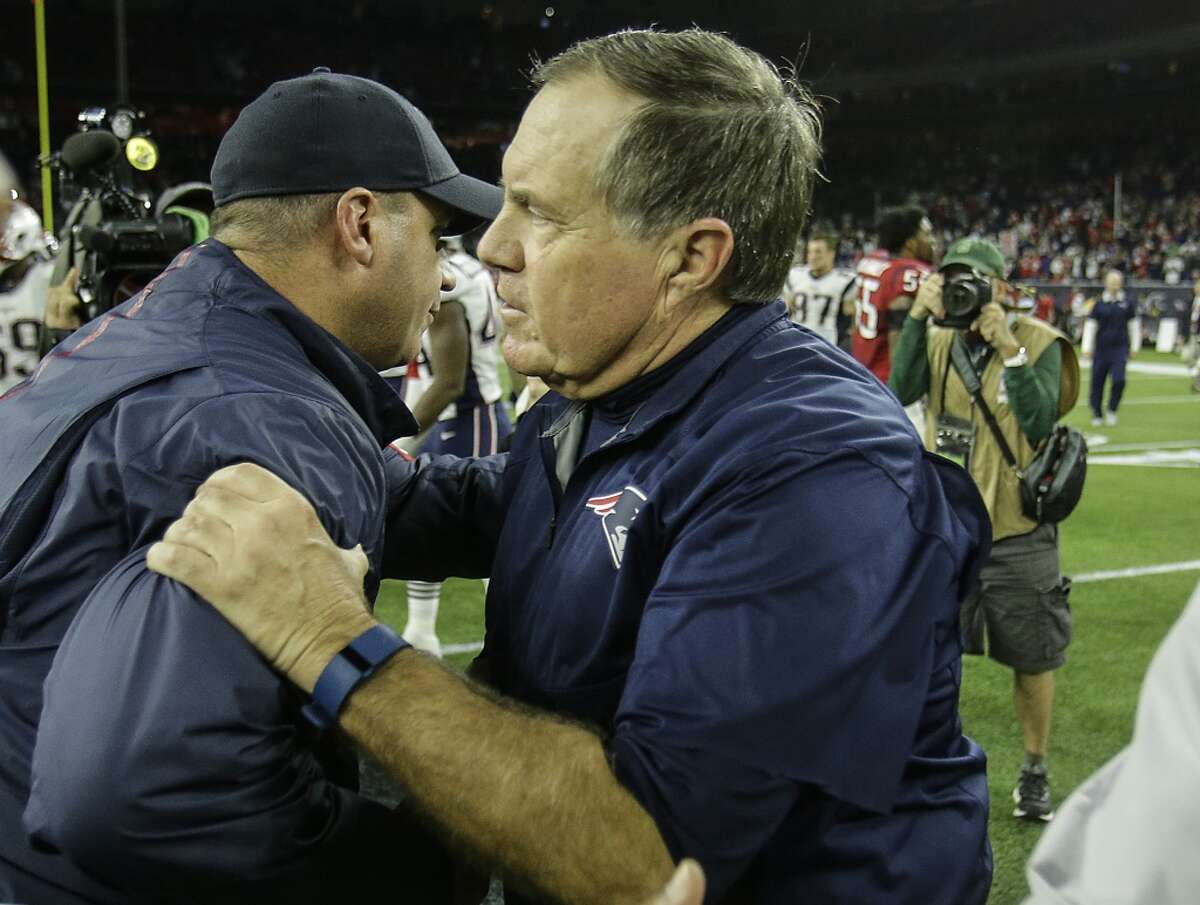 Houston Texans head coach Bill O'Brien and New England Patriots head coach Bill Belichick shake hands after the Patriots beat the Texans 27-6 in an NFL football game at NRG Stadium on Sunday, Dec. 13, 2015, in Houston. ( Brett Coomer / Houston Chronicle )