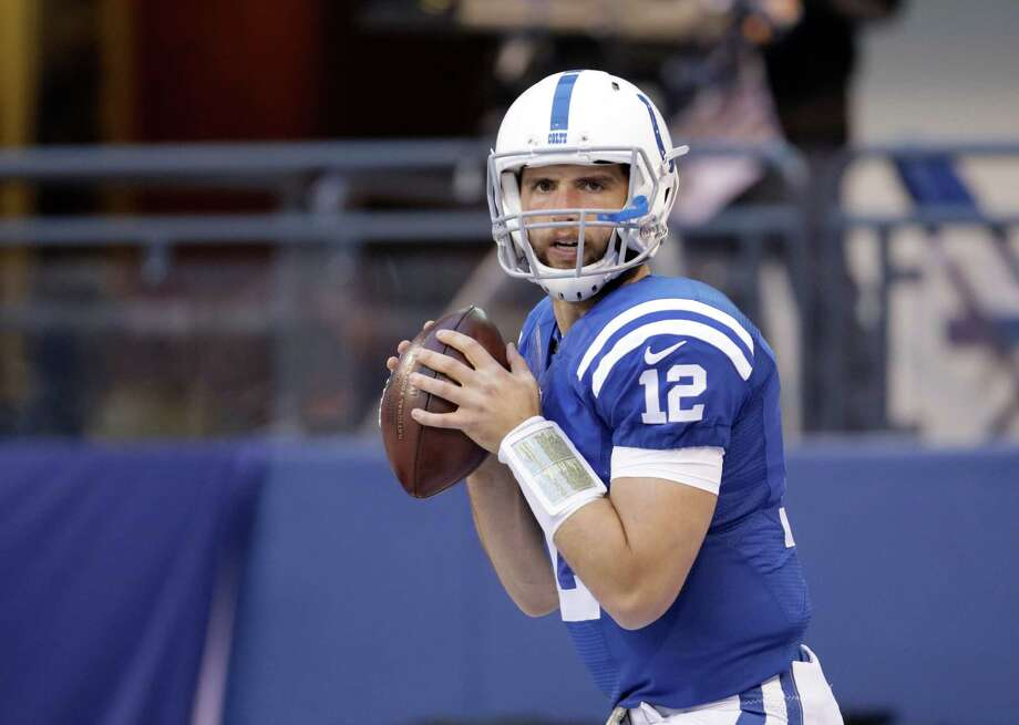 Indianapolis Colts' Andrew Luck throws before the start of an NFL football game against the Denver Broncos, Sunday, Nov. 8, 2015, Indianapolis. (AP Photo/AJ Mast) Photo: AJ Mast, FRE / FR123854 AP
