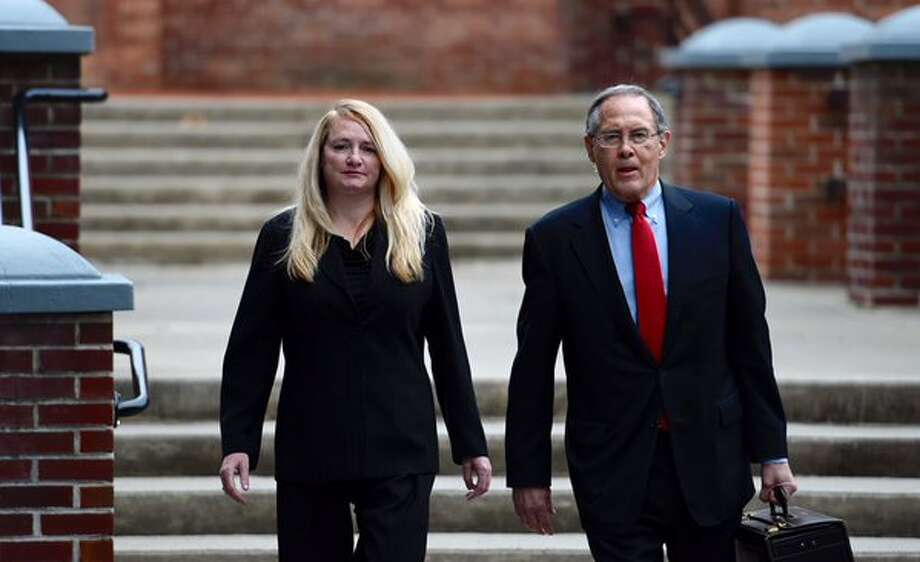 "Former Halfmoon Town Supervisor Melinda ""Mindy"" Wormuth, left, and her attorney, E. Stewart Jones., arrive at Saratoga County Court on Monday, Dec. 14, 2015. (Skip Dickstein / Times Union)"