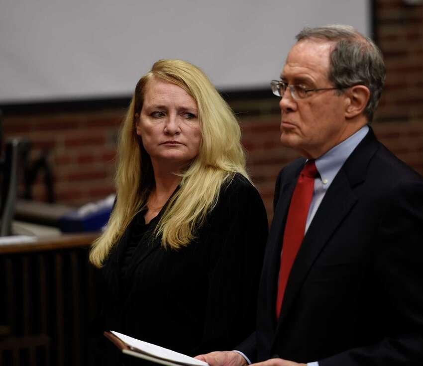 Mindy Wormuth appears in Saratoga County Court with her attorney E. Stewart Jones for her sentencing by Judge Matthew Sypniewski Monday Dec. 14, 2015 in Ballston Spa, N.Y. (Skip Dickstein/Times Union)