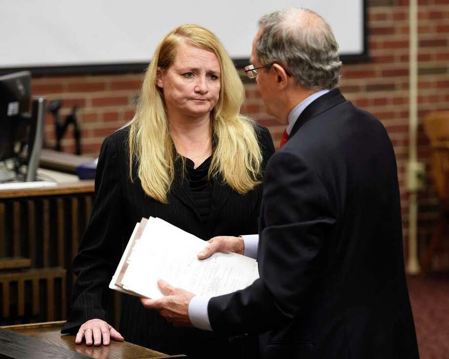 Mindy Wormuth appears in Saratoga County Court with her attorney E. Stewart Jones for her sentencing by Judge Matthew Sypniewski Monday Dec. 14, 2015 in Ballston Spa, N.Y.       (Skip Dickstein/Times Union) Photo: SKIP DICKSTEIN / 10034644A