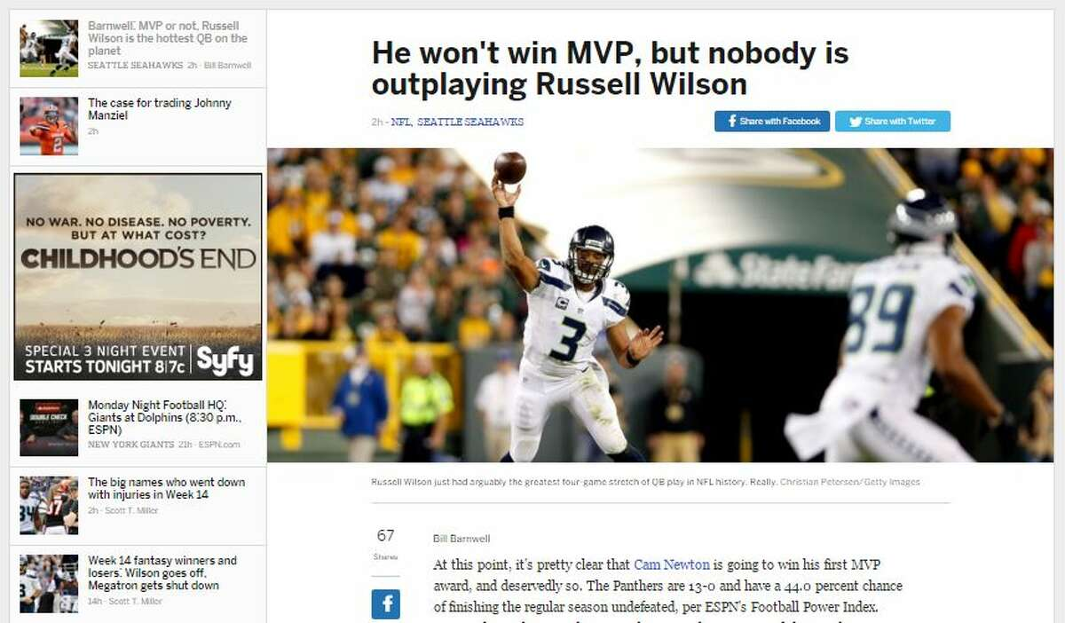 ESPN's Bill Barnwell ESPN's Barnwell echoed our sentiments from Sunday: Wilson should garner some MVP consideration.