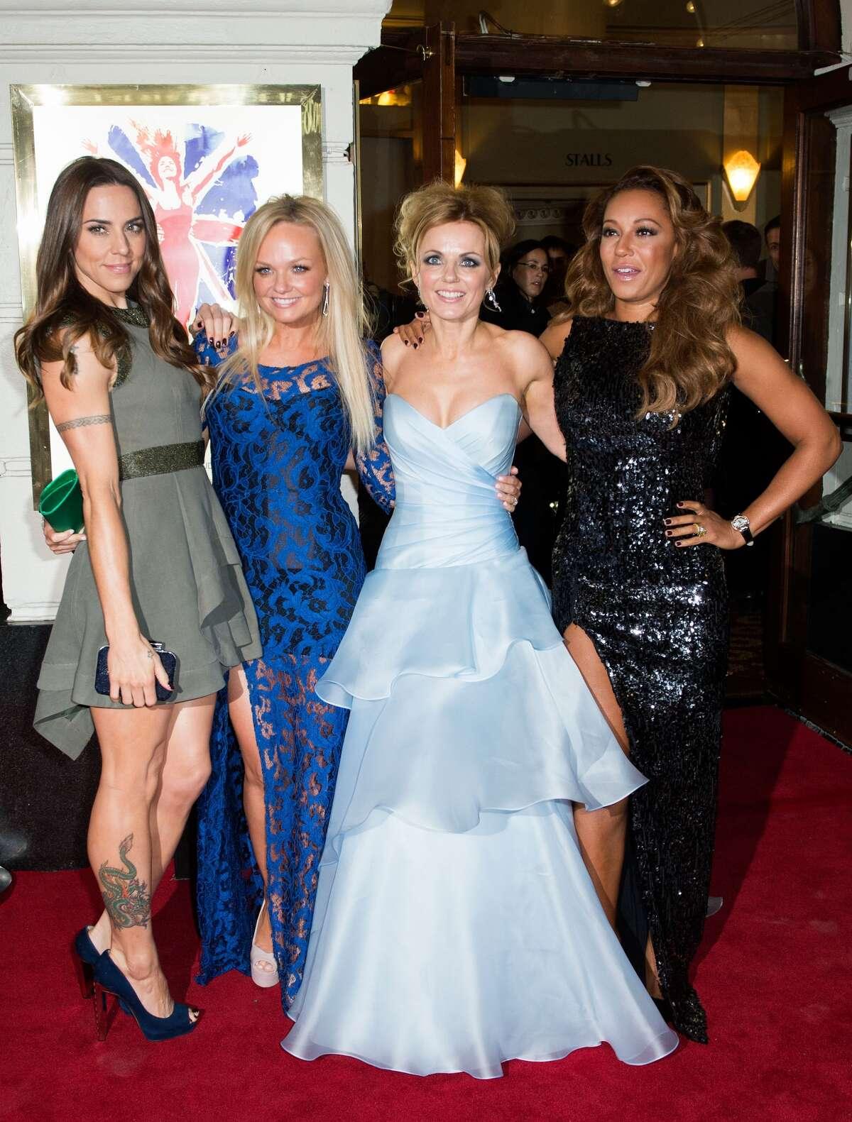 One spice shy, Melanie Chisholm, Emma Bunton, Geri Halliwell and Melanie Brown pose for a photo in 2012.