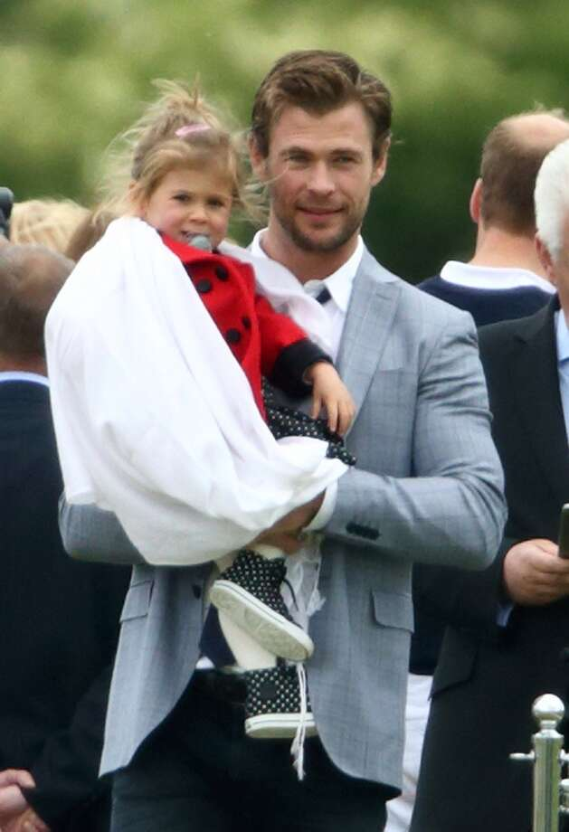 """Thor"" star Chris Hemsworth and his wife, actress, Elsa Pataky, welcomed their daughter India Rose (seen here with pops) in 2012, and twin sons in 2014. Photo: Max Mumby/Indigo, Getty Images"