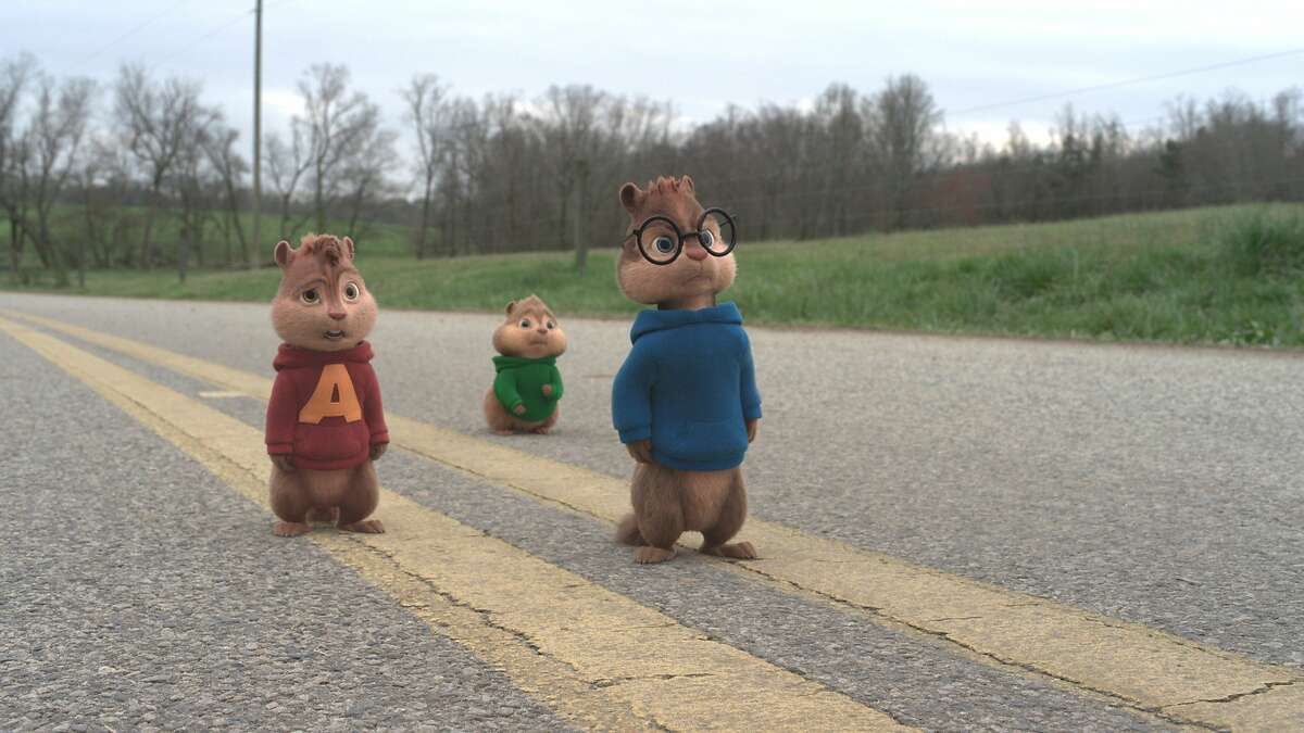 """This photo provided by courtesy of Twentieth Century Fox shows, Chipmunks, from left, Alvin, Theodore and Simon facing yet another challenge during their eventful Road Chip in """"Alvin and the Chipmunks: The Road Chip."""" The animated movie opens in U.S. theaters on Dec. 18, 2015. (Twentieth Century Fox via AP)"""