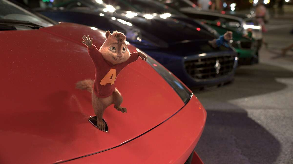 """In this photo provided by courtesy of Twentieth Century Fox, during a memorable moment of their unforgettable Road Chip, the Chipmunks must pretend to be hood ornaments in """"Alvin and the Chipmunks: The Road Chip."""" The animated movie opens in U.S. theaters on Dec. 18, 2015. (Twentieth Century Fox via AP)"""