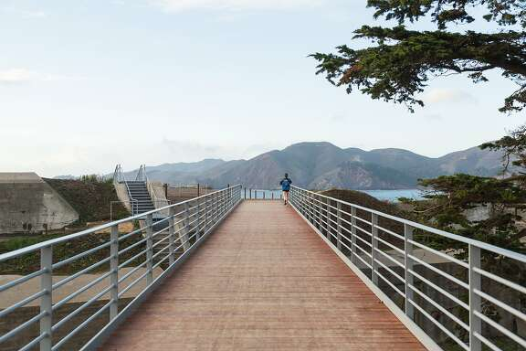 A new footbridge that opened on the Presidio Coastal Trail near Battery Godfrey in San Francisco, Calif., Friday December 11, 2015. .