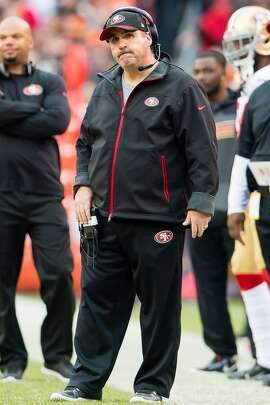 CLEVELAND, OH - DECEMBER 13: Head coach Jim Tomsula of the San Francisco 49ers reacts during the second half against the Cleveland Browns at FirstEnergy Stadium on December 13, 2015 in Cleveland, Ohio. The Browns defeated the 49ers 24-10. (Photo by Jason Miller/Getty Images)