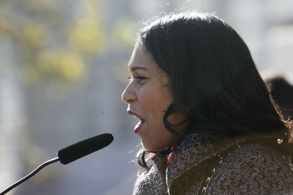 Supervisor London Breed and president of the Board of Supervisors speaks during a press conference at City Hall opposing the proposal for a new jail in San Francisco on Monday, December 14, 2015 in San Francisco, Calif.