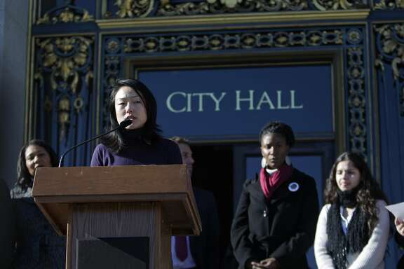 Supervisor Jane Kim speaks during a press conference at City Hall opposing the proposal for a new jail in San Francisco on Monday, December 14,  2015 in San Francisco, Calif.