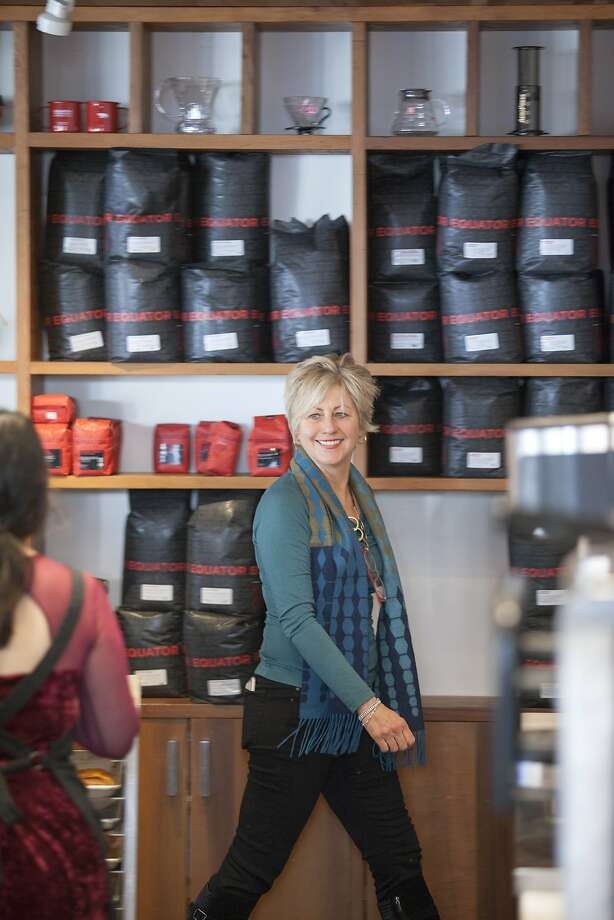 Equator Coffee's co-founder Helen Russell the chain is partnering with Urban Remedy and Flour Craft Bakery to bring coffee and pastries for 200 people to the Marin County Civic Center, which is currently being used as a shelter. Photo: Santiago Mejia, Special To The Chronicle