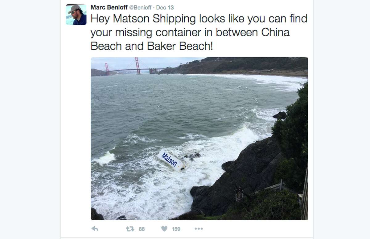 Marc Benioff tweeted this shot of the Matson container as it came in on the surf off Baker Beach.