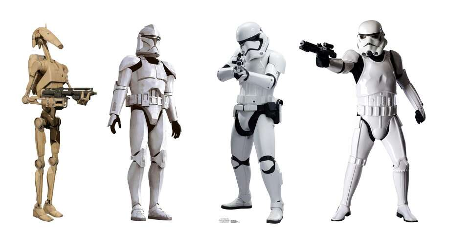 Battle Droids, left, Clone troops, the New Order, Storm-troopers Photo: Lucasfilm