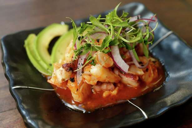 Vuelve a la Vida (Japanese snapper, Gulf fish, octopus and Japanese bay scallops in a yuzu and Sriracha hot sauce with avocado, red onions and crushed sea salt) at Izakaya