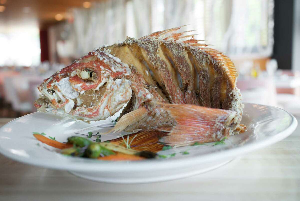 Fried whole red snapper at Peska Seafood Culture, Houston. The restaurant, 1700 Post Oak, will host