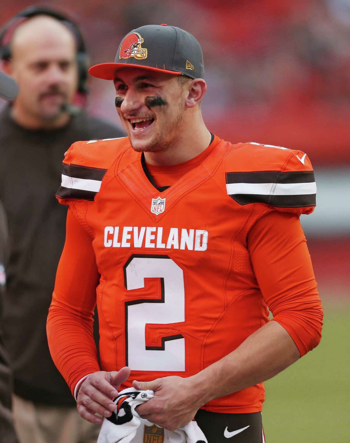 Browns quarterback Johnny Manziel smiles during the second half against the San Francisco 49ers on Dec. 13, 2015, in Cleveland.
