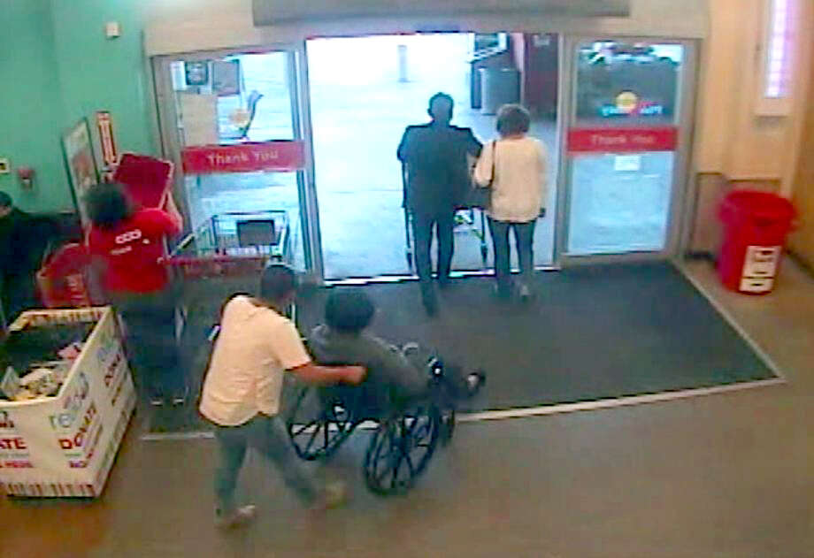 A 96-year-old woman with dementia is seen in an image from a surveillance camera being wheeled out of the HEB at 5910 Babcock Nov. 22 by an unknown woman. The elderly woman was eventually dropped in the middle of a road on the other side of town. Police are seeking the public's help identifying the abductor. Photo: COURTESY / COURTESY / HEB SURVEILLANCE PHOTO PROVIDED BY SAPD
