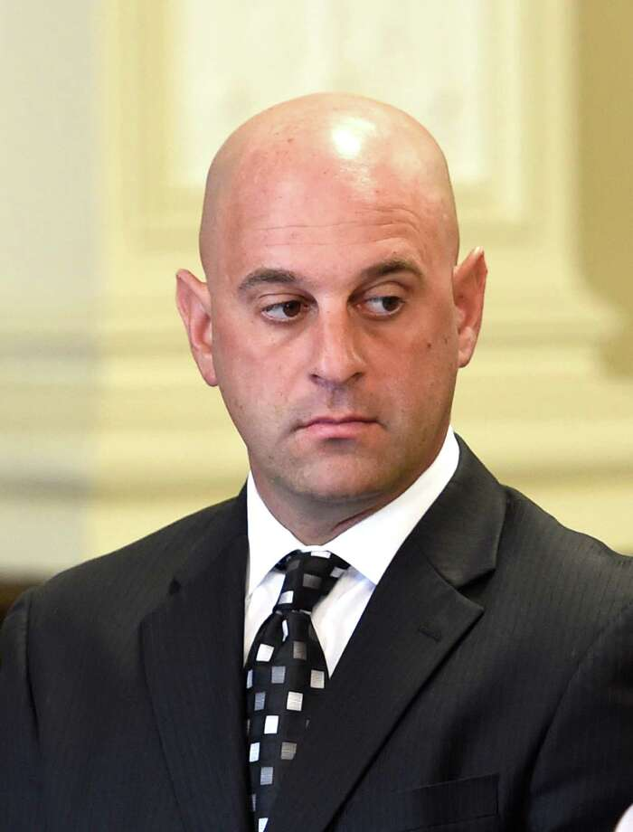 Former Troy Police officer Brian Gross received his sentence in Rensselaer County Court Thursday morning Sept. 17, 2015 in Troy, N.Y.  Brian Gross, 33, of North Greenbush, who was assigned to the Community Narcotics Enforcement Team, was sentenced by Judge Andrew Ceresia. In June, Gross admitted his guilt to Ceresia during a plea. (Skip Dickstein/Times Union archive) Photo: SKIP DICKSTEIN / 00033406A