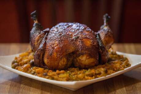 A traditional Nicaraguan Christmas dinner includes a stuffed hen like the one seen at the Mission restaurant, Las Tinajas, on Monday, Dec. 14, 2015 in San Francisco, Calif.