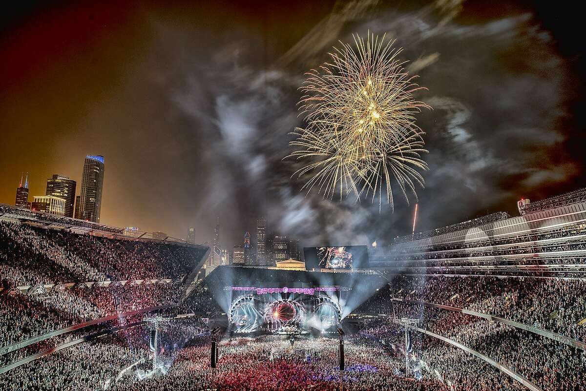 """Fireworks in Chicago, from the book """"Fare Thee Well, Celebrating the 50th Anniversary of The Grateful Dead."""""""