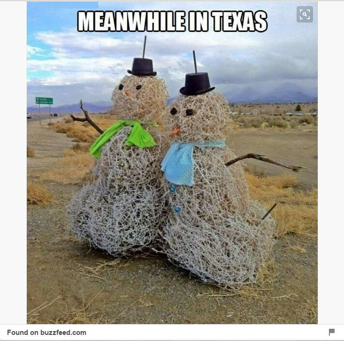 No snow? These tumbleweeds make good snowmen. See it here.