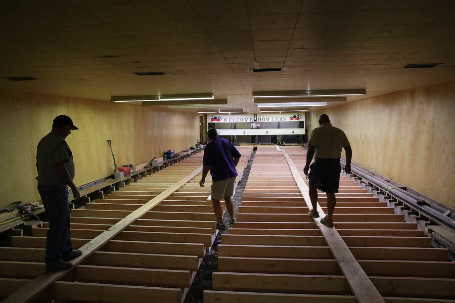 Underlayment of the old lanes was taken up and replaced with concrete piers and douglas fir joists at the Barbarosa Bowling Club, one of several nine pin bowling clubs in the area on November 12, 2015. Photo: TOM REEL, STAFF / SAN ANTONIO EXPRESS-NEWS / 2015 SAN ANTONIO EXPRESS-NEWS