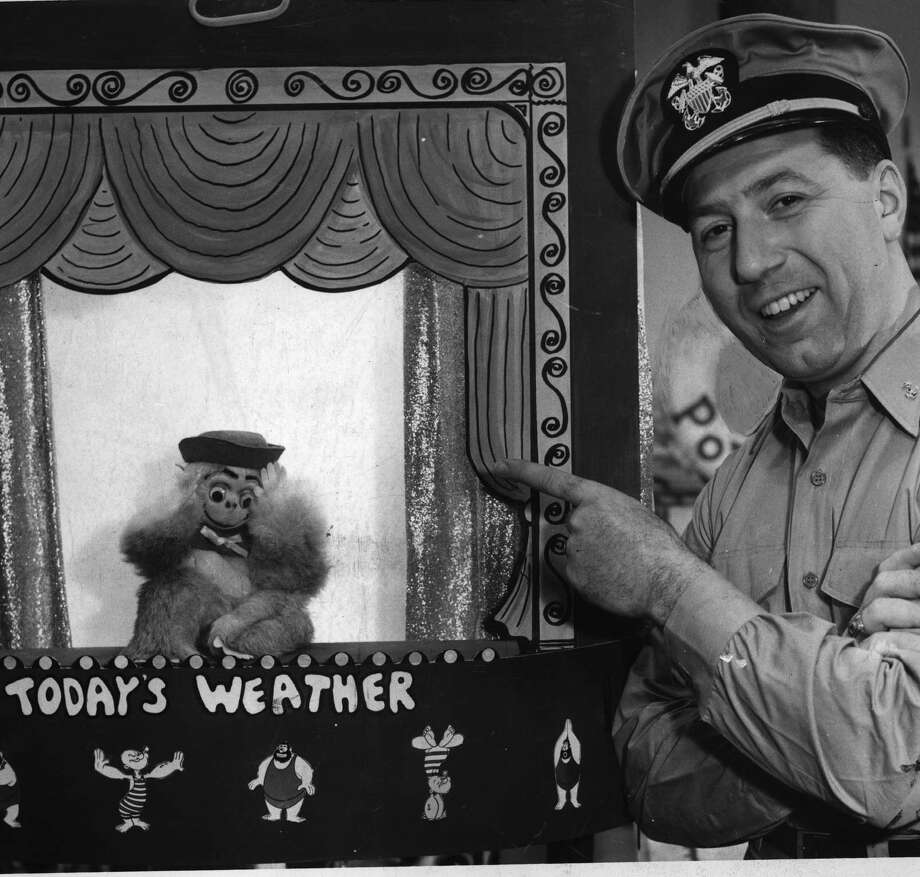 Ralph Vartigian, a longtime TV newscaster and TV's ?Commander Ralph,? is shown with his puppet Mr. Monkey. (Times Union archive) Photo: NONE