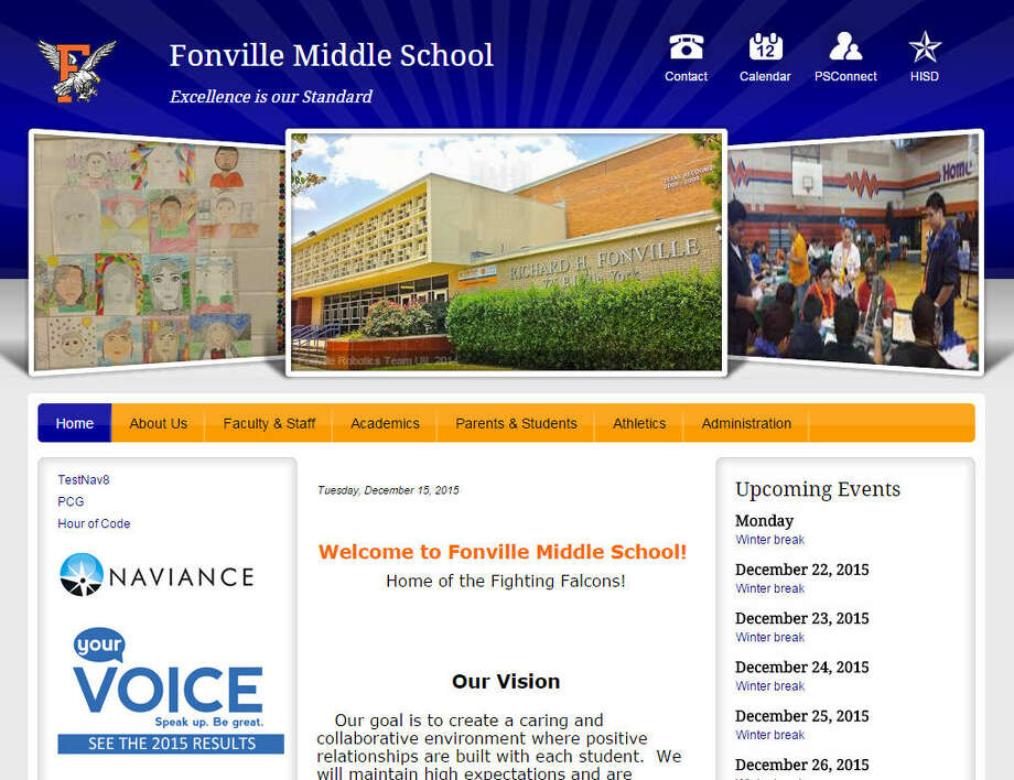 Fonville Middle School Houston ISDLess than 50 percent passing rate on social studies STAAR test in 2015. Photo: Independent School Districts