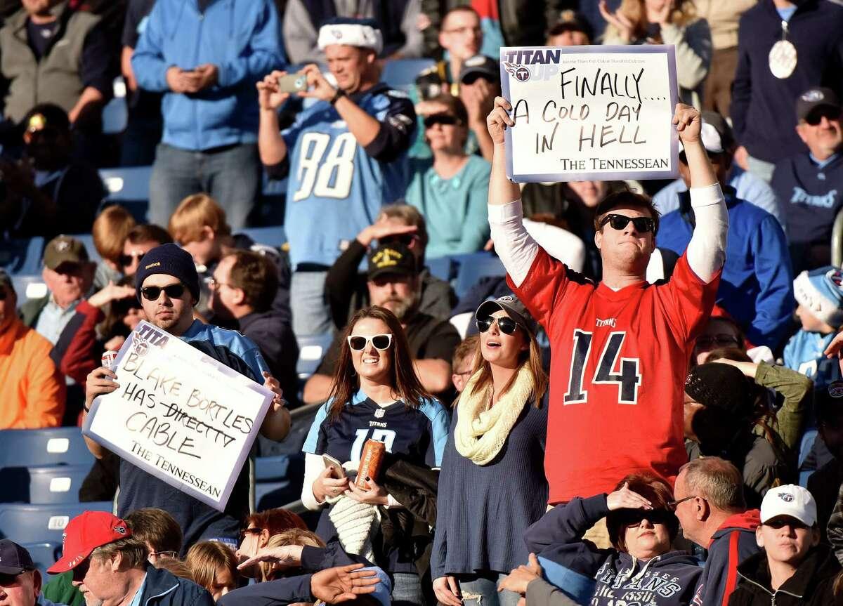 42. Nashville, Tenn.: 11.20 mistakes per 100 words Titans (NFL): 11.20