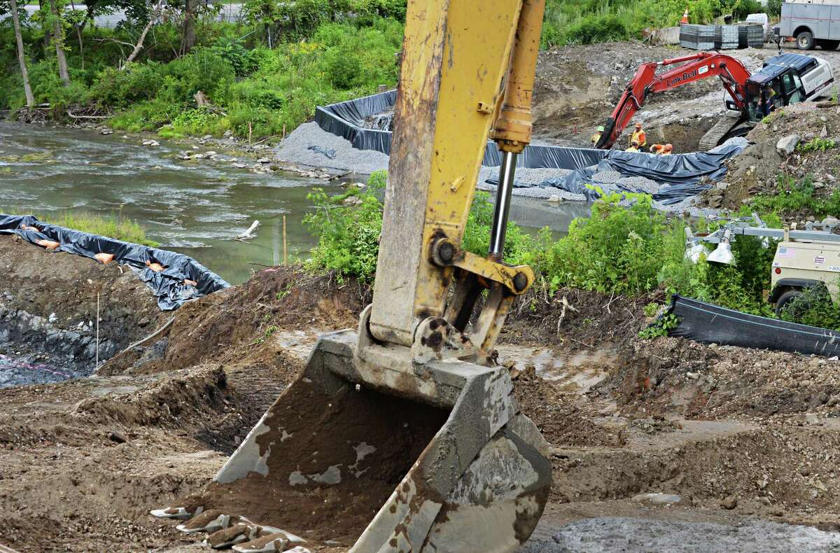 Construction for a new bridge over the Coeymans Creek near the Port of Coeymans Thursday August 14, 2014, in Coeymans, NY. Increasing development near the port is causing some concern about a new law in Dec. 2015 that could open up Coeymans to importation of solid waste. (John Carl D'Annibale / Times Union)