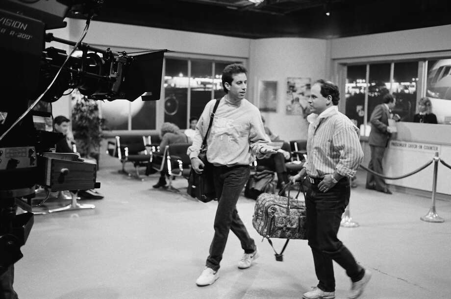 "Jerry Seinfeld and Jason Alexander during the taping of ""The Seinfeld Chronicles"" pilot in 1989. Photo: NBC, NBCU Photo Bank / © NBC Universal, Inc."