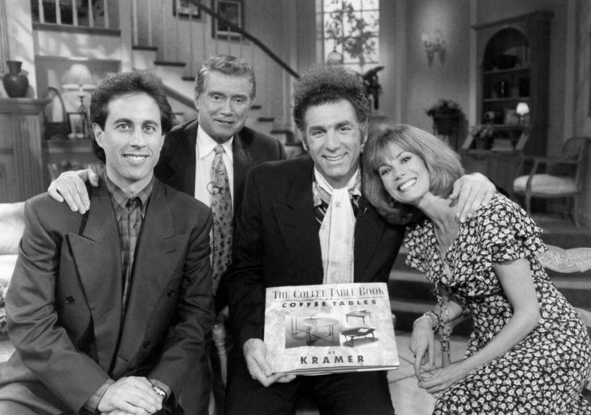 """Jerry Seinfeld, Regis Philbin, Michael Richardsa and Kathie Lee Gifford during the taping of """"The Opposite"""" in season five of """"Seinfeld."""""""