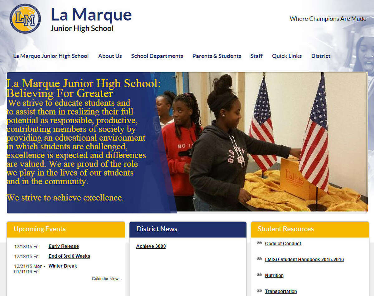 La Marque Junior High School La Marque ISD  At least once in the last three years, the school met at least five of six criteria established by the Texas Education Agency, any one of which allows parents to transfer their children out of that school.