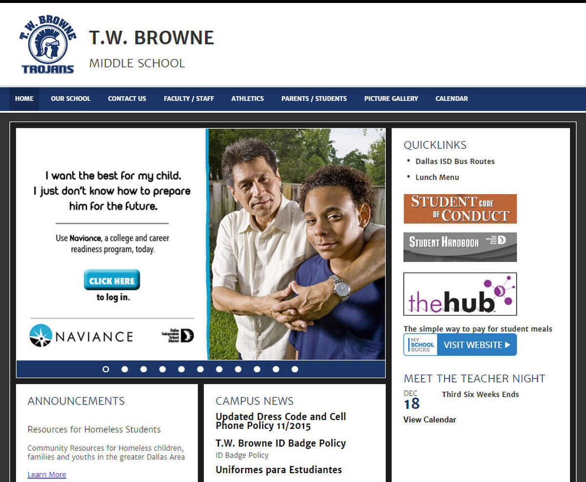 T.W. Browne Middle SchoolDallas ISD  At least once in the last three years, the school met at least five of six criteria established by the Texas Education Agency, any one of which allows parents to transfer their children out of that school.