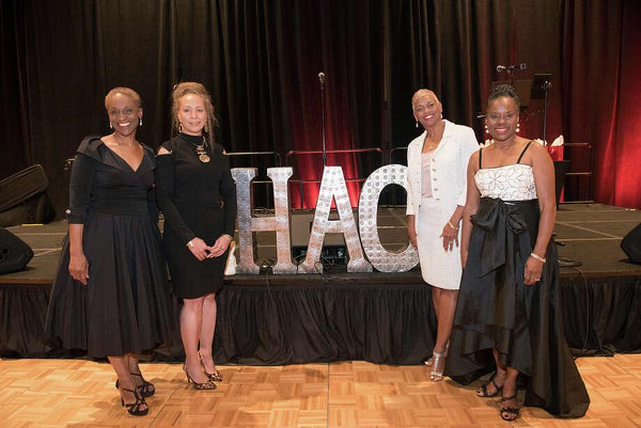 Jazz Soirée Co-chair Angela Jones, Soirée Co-chair Marilyn Boss, Houston Alumnae Chapter President Christine Criner Smith and Soirée Co-chair Jewel Smith Photo: Rena Iglehart (Rena O. Productions)