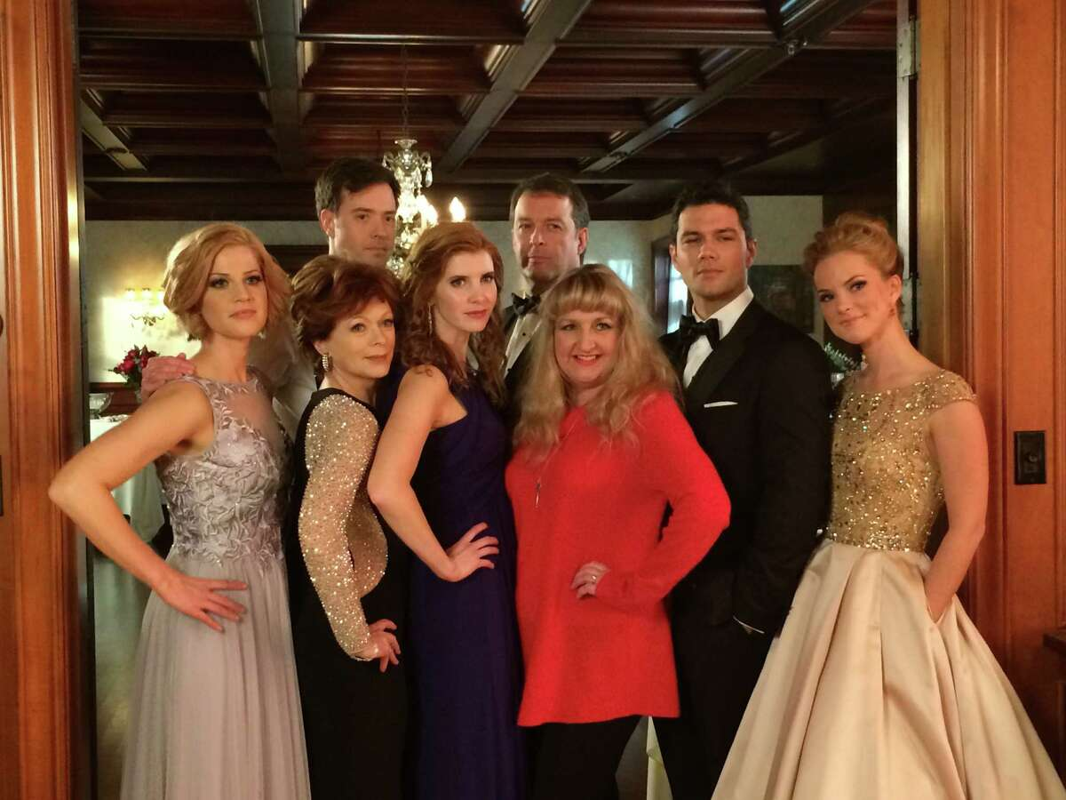 """San Antonio novelist Teri Wilson (in red) visited the Canadian set of """"Unleashing Mr. Darcy"""" and met the stars, including Ryan Paevey (in tux, on right), Cindy Busby and Frances Fisher of the Hallmark Channel movie based on her book."""
