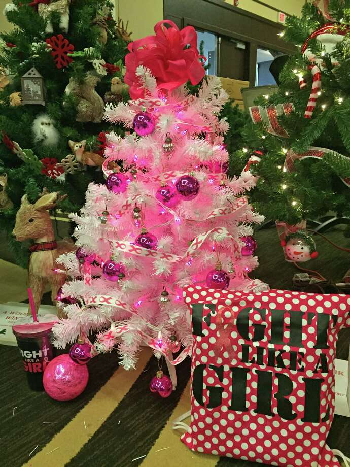 the junior league of greenwichs enchanted forest fundraiser devoted one christmas tree for breast cancer awareness - Enchanted Forest Christmas Trees