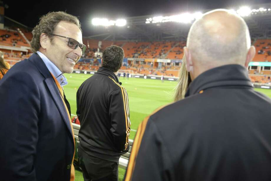 New Dynamo controlling owner Gabriel Brener (left) initially bought 50 percent in the club along with former boxing champion Oscar De La Hoya in February 2008. Photo: Anthony Vasser, Courtesy Houston Dynamo / anthony@pretty-impressive.com