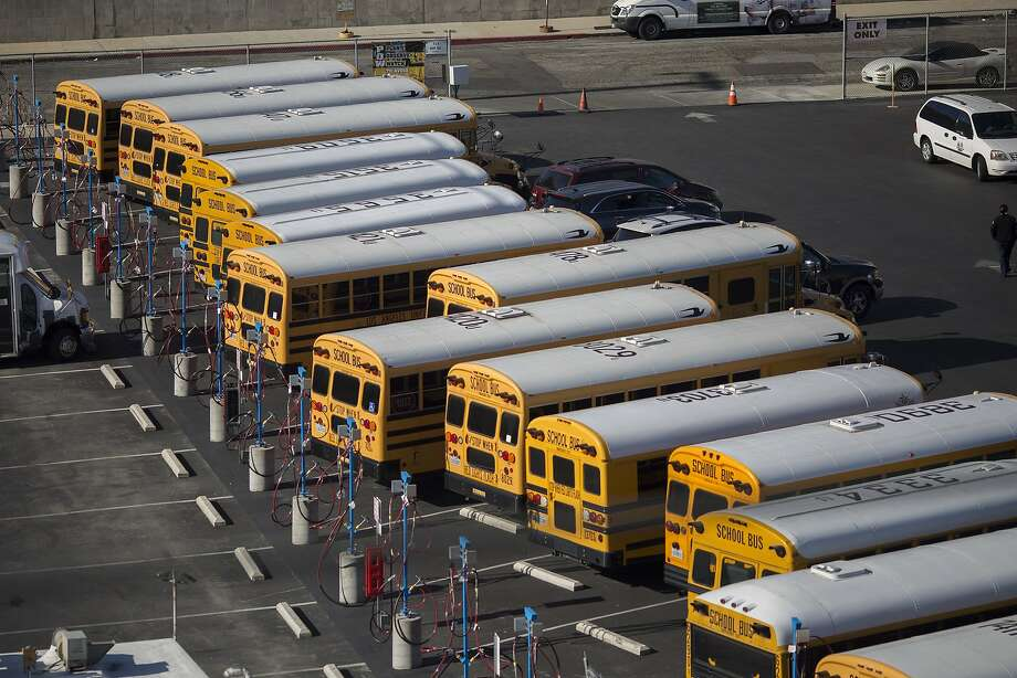 FILE — School buses stand idle as all Los Angeles city schools are shut down in reaction to a threat on December 15, 2015 in Los Angeles, California. A  bomb threat against LAUSD schools was sent to various members of the Los Angeles school board late last night, according to LAPD Chief Charlie Beck. Local authorities immediately notified the FBI. Photo: David McNew, Getty Images