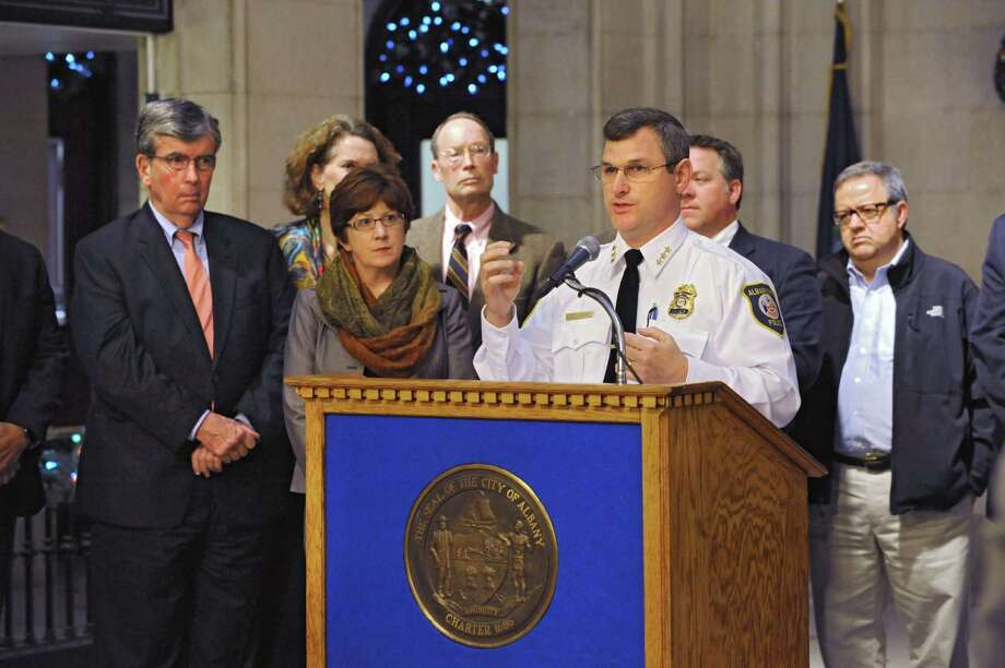 "Albany Police Chief Brendan Cox announces major step to implement innovative ""LEAD"" program to address root causes of crime during a press conference at City Hall on Tuesday, Dec. 15, 2015 in Albany, N.Y. (Lori Van Buren / Times Union) Photo: Lori Van Buren / 10034655A"