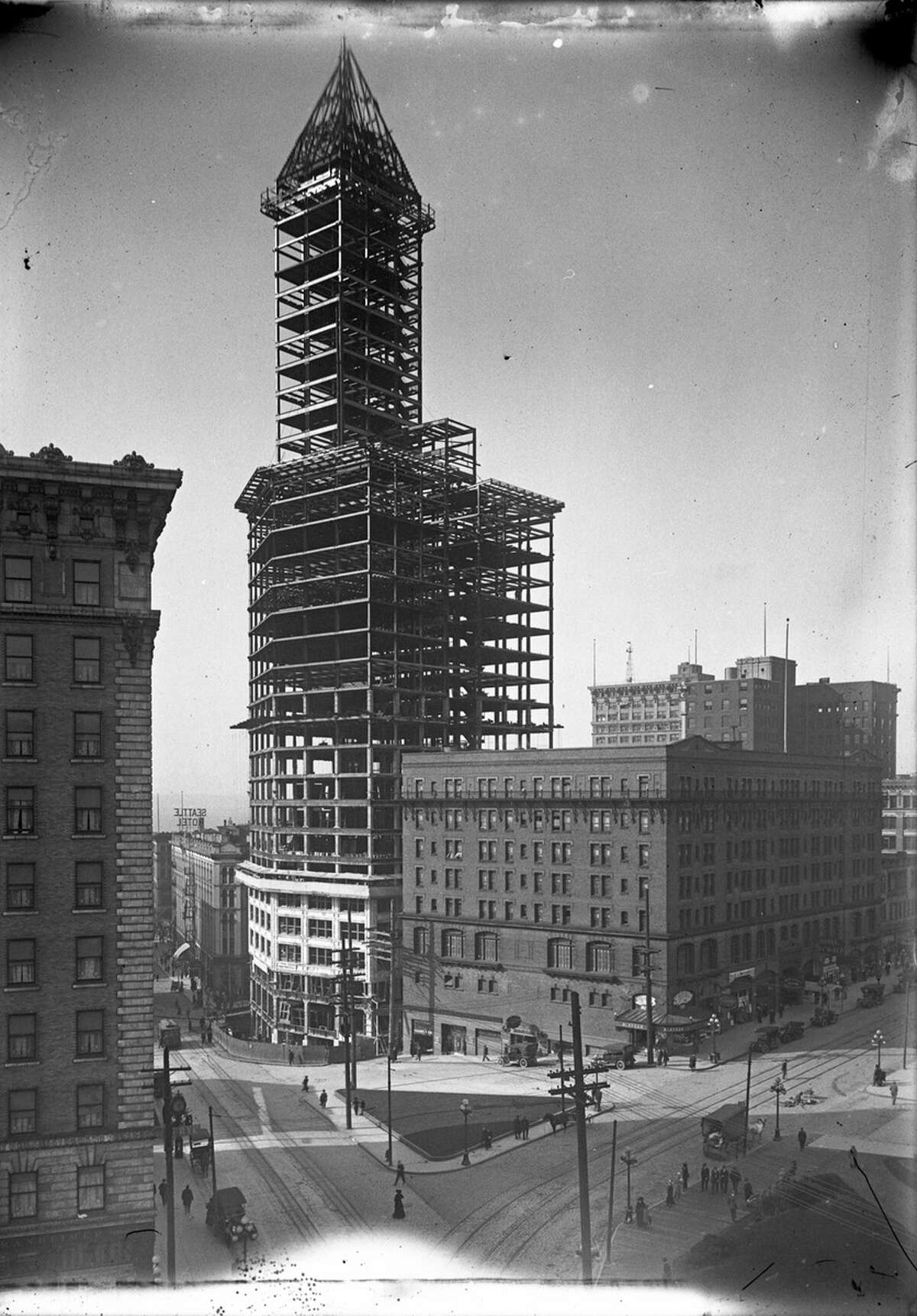 Seattle's Smith Tower, pictured under construction in February 1913.