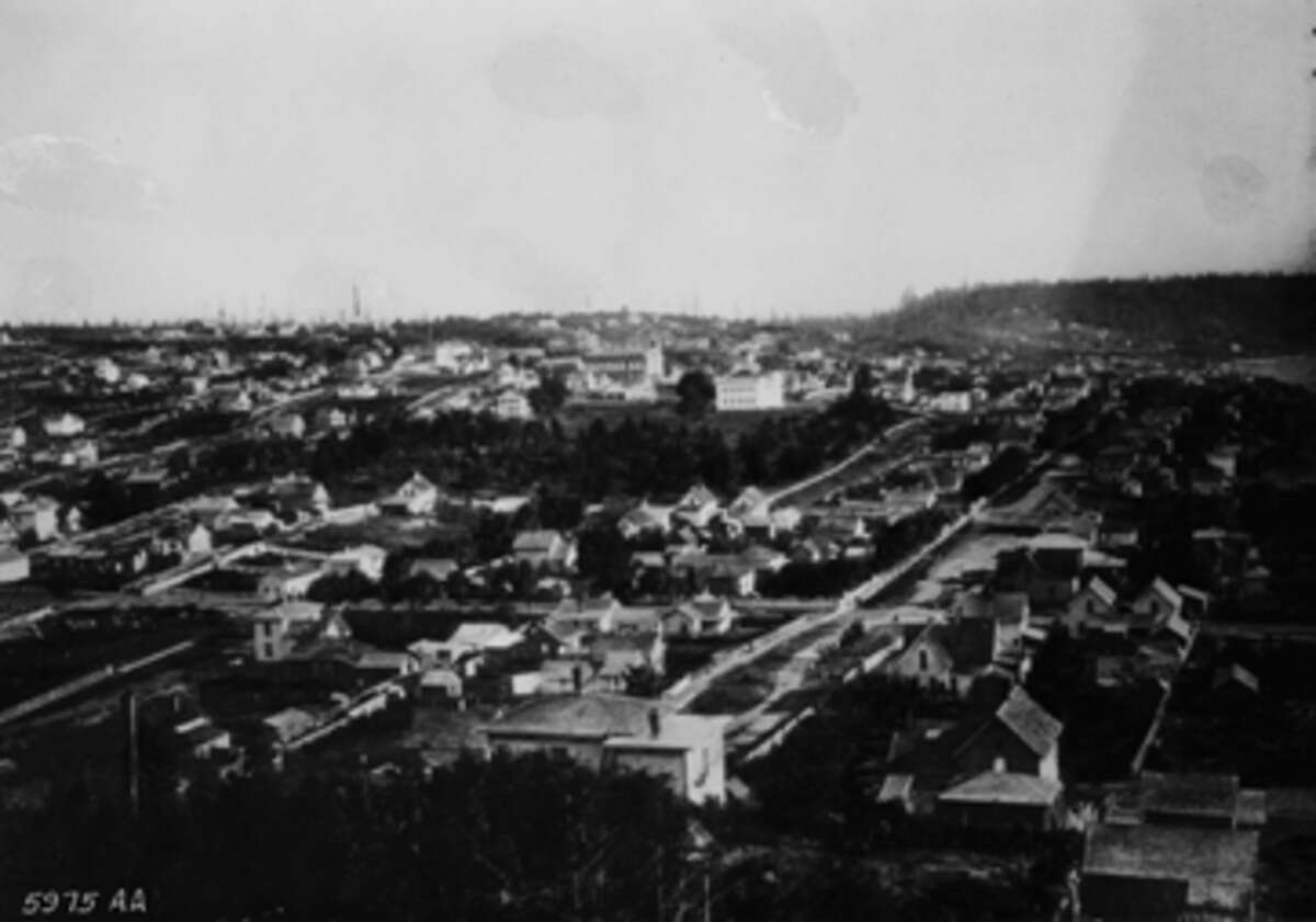 Downtown Seattle, as seen in 1886 from Denny Hill.