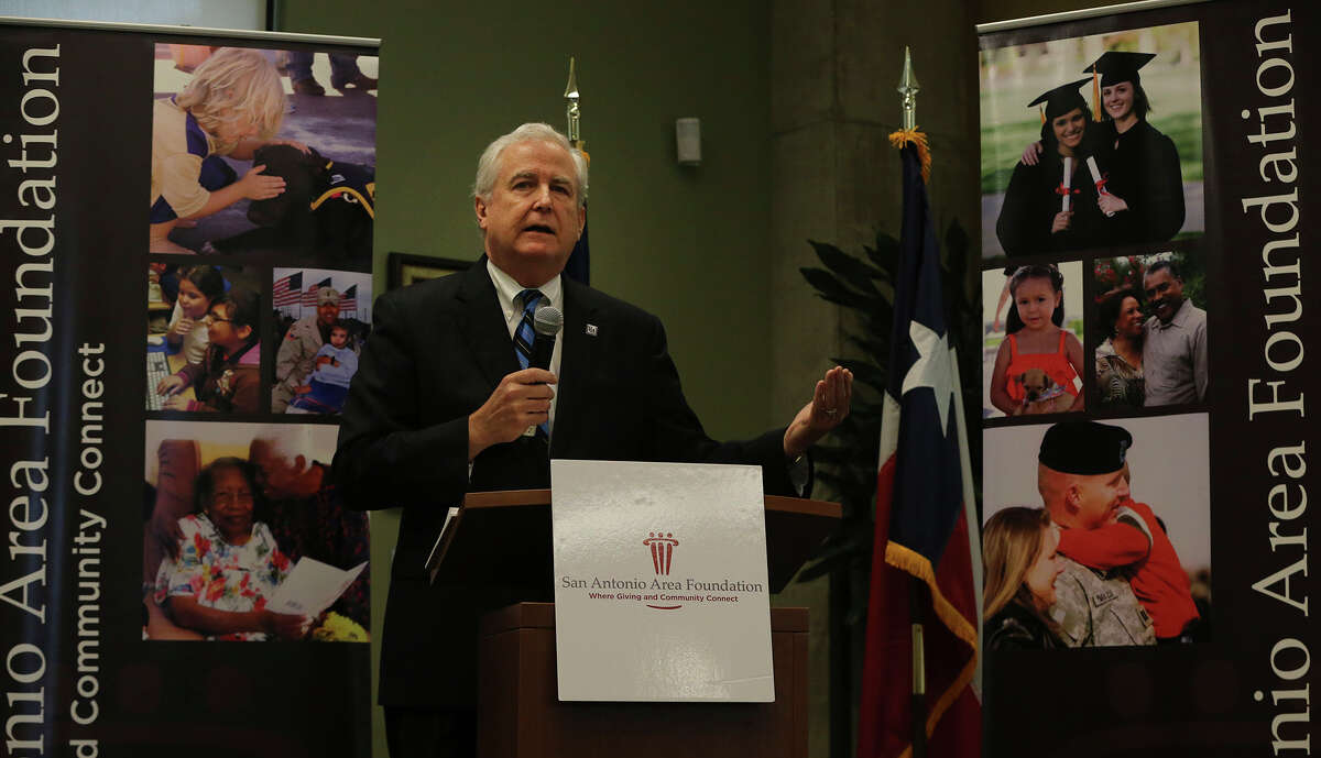Dennis E. Noll, President and CEO of the San Antonio Area Foundation, speaks Tuesday December 15, 2015 during a press conference detailing a gift donated to the San Antonio Area Foundation by the estate of local cinema businessman and real estate entrepeneur John L. Santikos. The gift has an estimated value in excess of $605 million. Santikos gifted the bulk of his estate including his theater and real estate businesses. The donation will support a wide range of charitable programs in the area and will more than triple the community foundation's asset size.