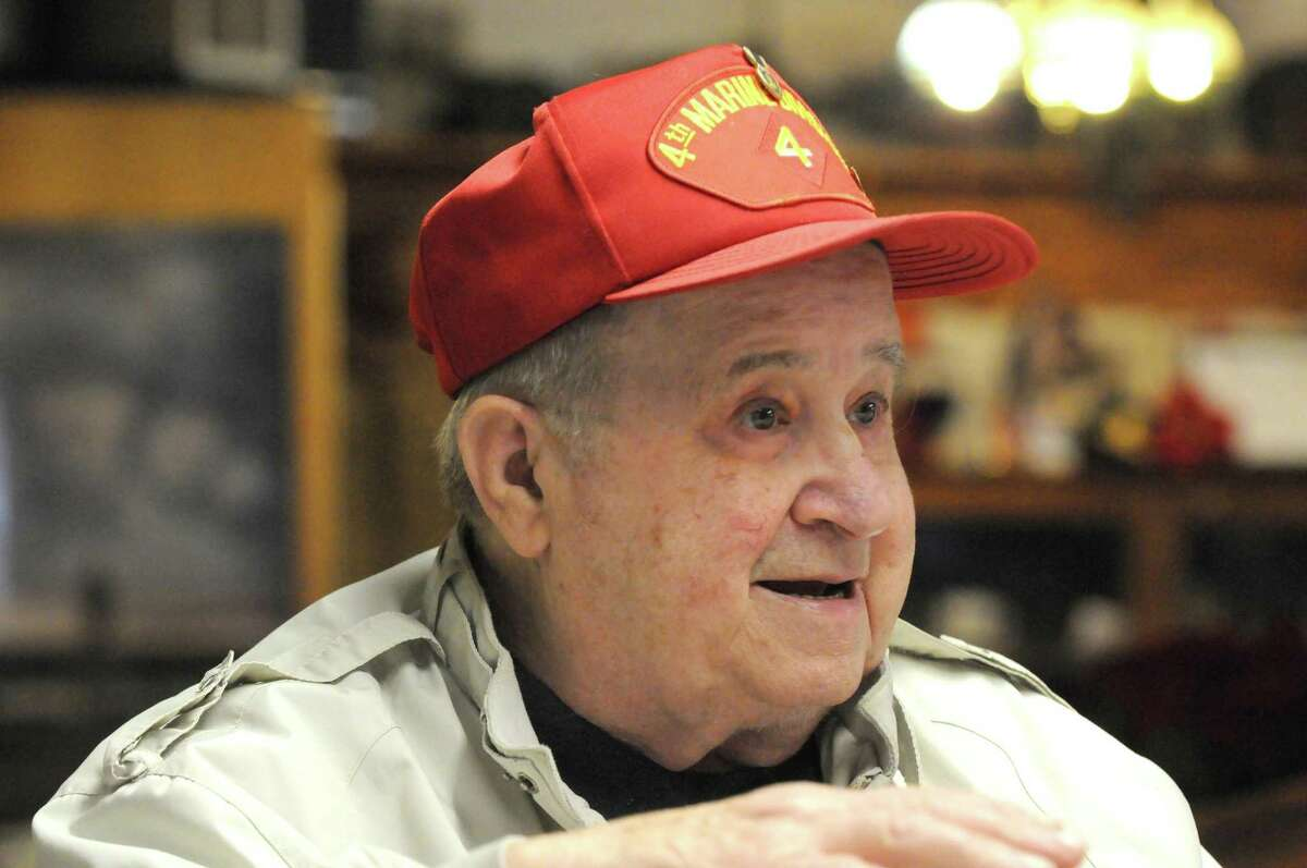 WWII Marine veteran Sal Famularo at the Home Front Cafe on Thursday Dec. 10, 2015 in Altamont, N.Y. (Michael P. Farrell/Times Union)