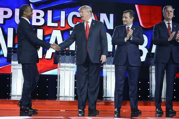 GOP presidential candidates Dr. Ben Carson, Donald Trump, Sen. Ted Cruz (R-Texas) and Jeb Bush on stage during the CNN Republican presidential debate at the Venetian in Las Vegas on Tuesday, Dec. 15, 2015. (Riccardo Savi/Sipa USA/TNS)