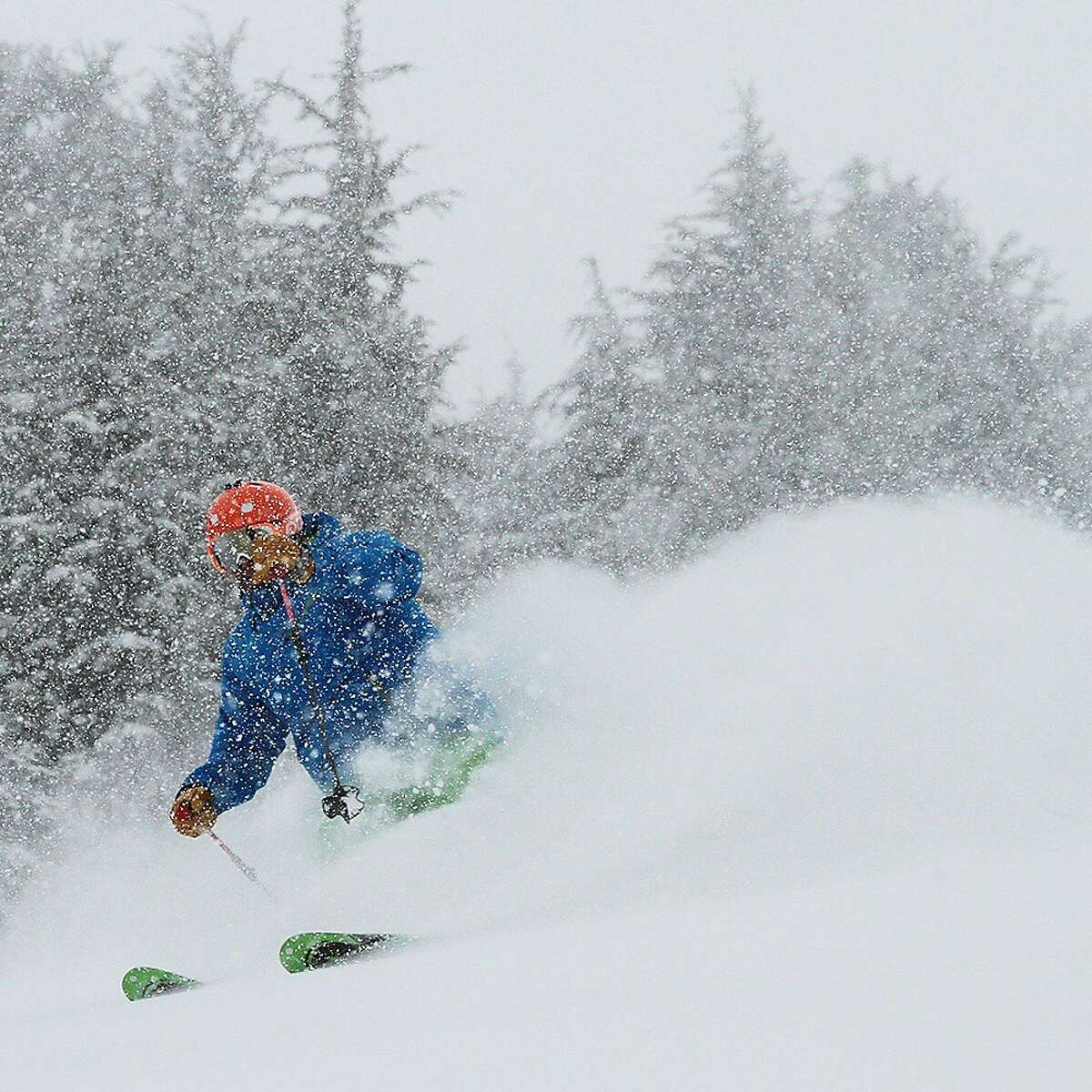 A skier shreds the pow at Kirkwood . . . Kirkwood Ski Area is looking at its best conditions for the Christmas holiday season in years. It already has a 36-inch base and this week was operating 8 of 15 lifts, with more expected to come on line for the holidays. Kirkwood is located off Highway 88 near Carson Pass in the central Sierra, about an hour's drive south of South Lake Tahoe.