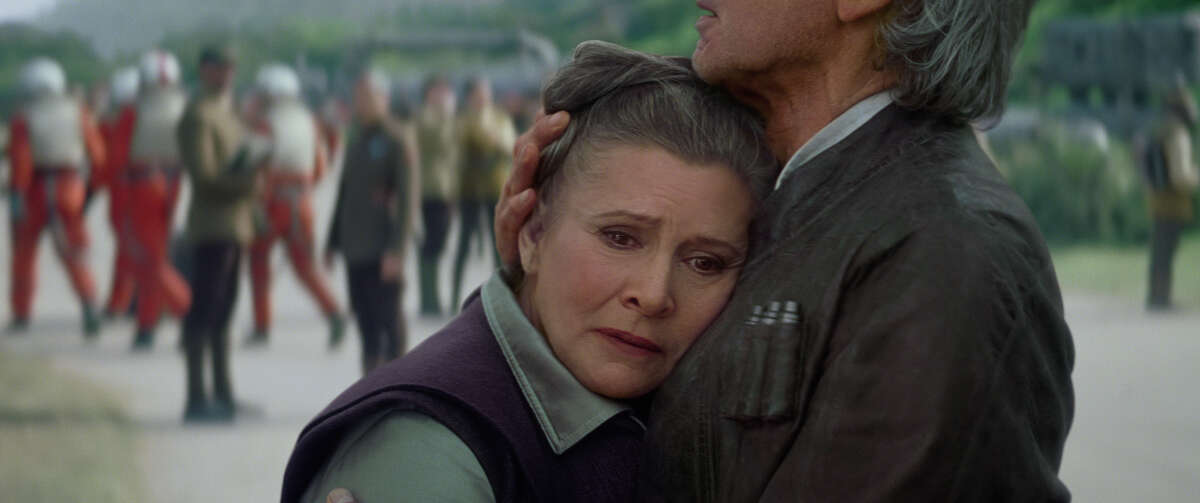Leia (Carrie Fisher) and Han Solo (Harrison Ford) in a still frame from