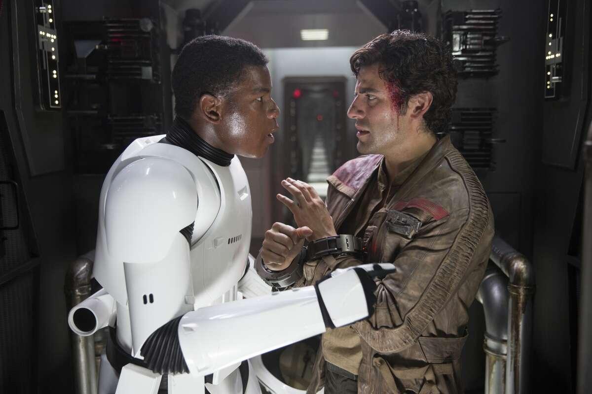 Finn (John Boyega) and Poe Dameron (Oscar Isaac) in a still frame from