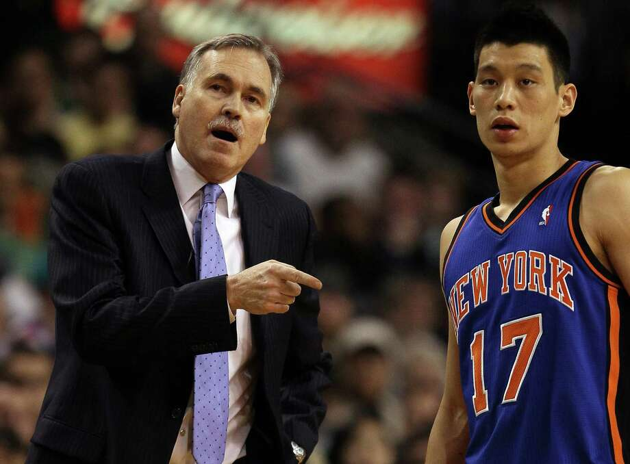 BOSTON, MA - MARCH 04: Head coach Mike D'Antoni talks with Jeremy Lin #17 of the New York Knicks on March 4, 2012 at TD Garden in Boston, Massachusetts. The Boston Celtics defeated the New York Knicks 115-111 in overtime. NOTE TO USER: User expressly acknowledges and agrees that, by downloading and or using this photograph, User is consenting to the terms and conditions of the Getty Images License Agreement. Photo: Elsa, Getty Images / 2012 Getty Images