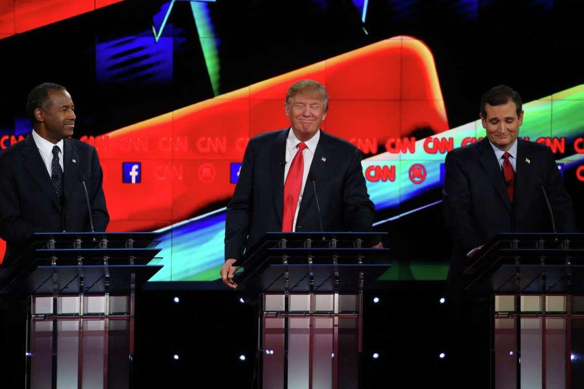 Ben Carson, Donald Trump and Sen. Ted Cruz during the Republican presidential debate at the Venetian in Las Vegas Tuesday night.